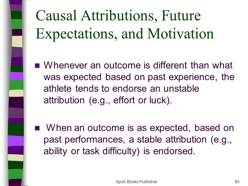 Sport Books Publisher65 Causal Attributions, Future Expectations, and Motivation Whenever an outcome is different than what was expected based on past