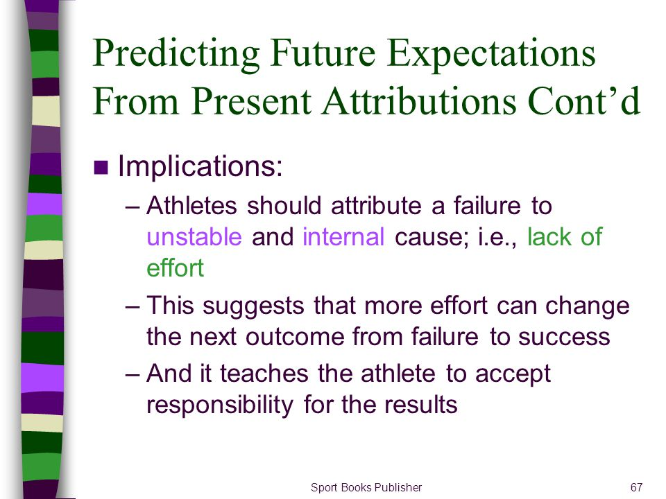 Sport Books Publisher67 Predicting Future Expectations From Present Attributions Contd Implications: –Athletes should attribute a failure to unstable