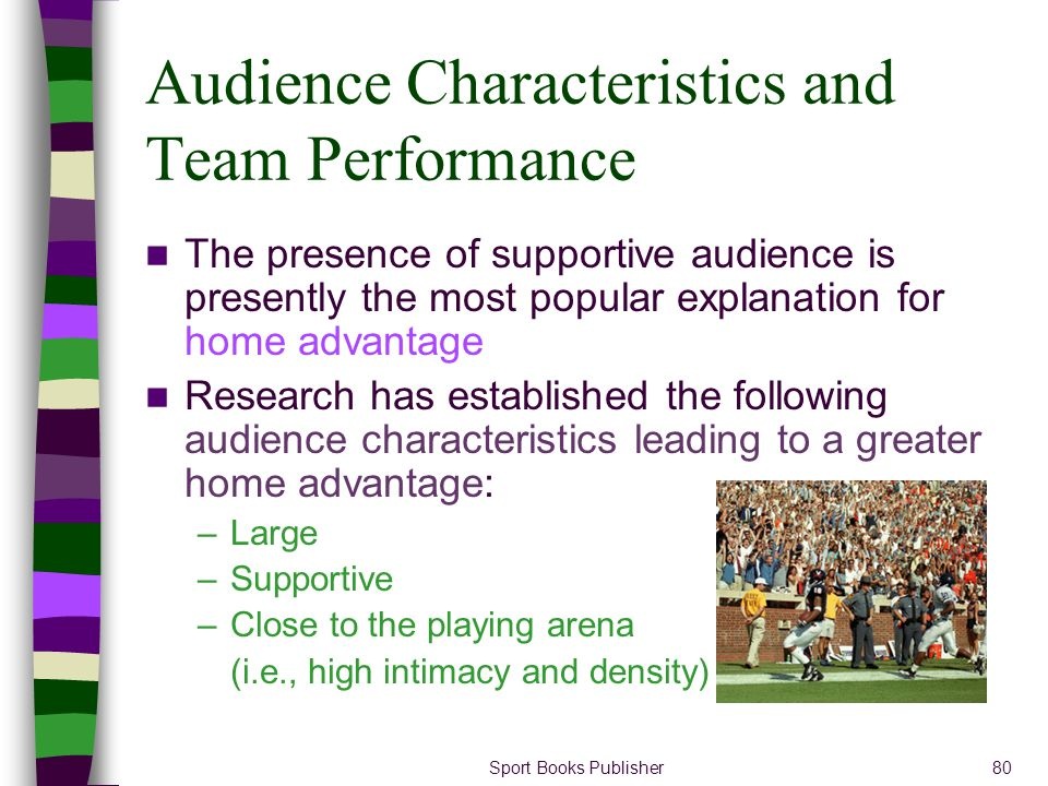 Sport Books Publisher80 Audience Characteristics and Team Performance The presence of supportive audience is presently the most popular explanation fo