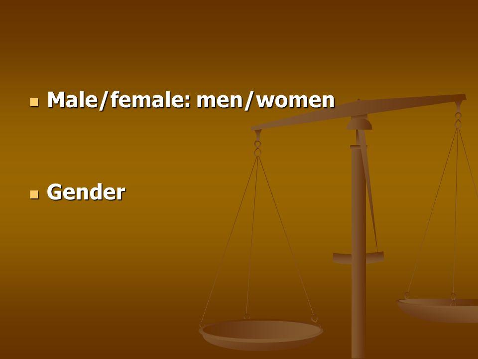 Male/female: men/women Male/female: men/women Gender Gender