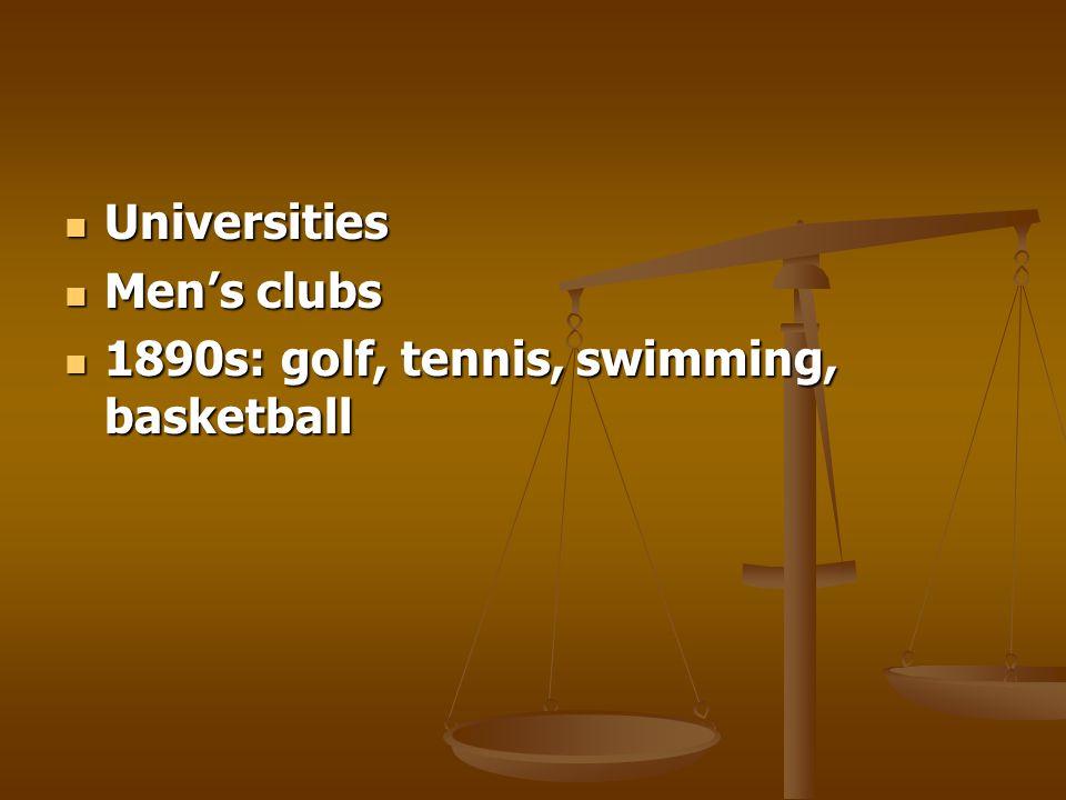Universities Universities Mens clubs Mens clubs 1890s: golf, tennis, swimming, basketball 1890s: golf, tennis, swimming, basketball