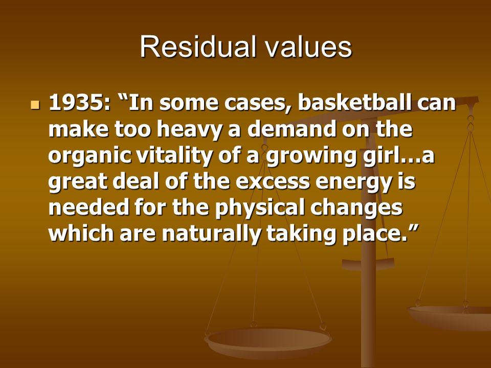 Residual values 1935: In some cases, basketball can make too heavy a demand on the organic vitality of a growing girl…a great deal of the excess energy is needed for the physical changes which are naturally taking place.