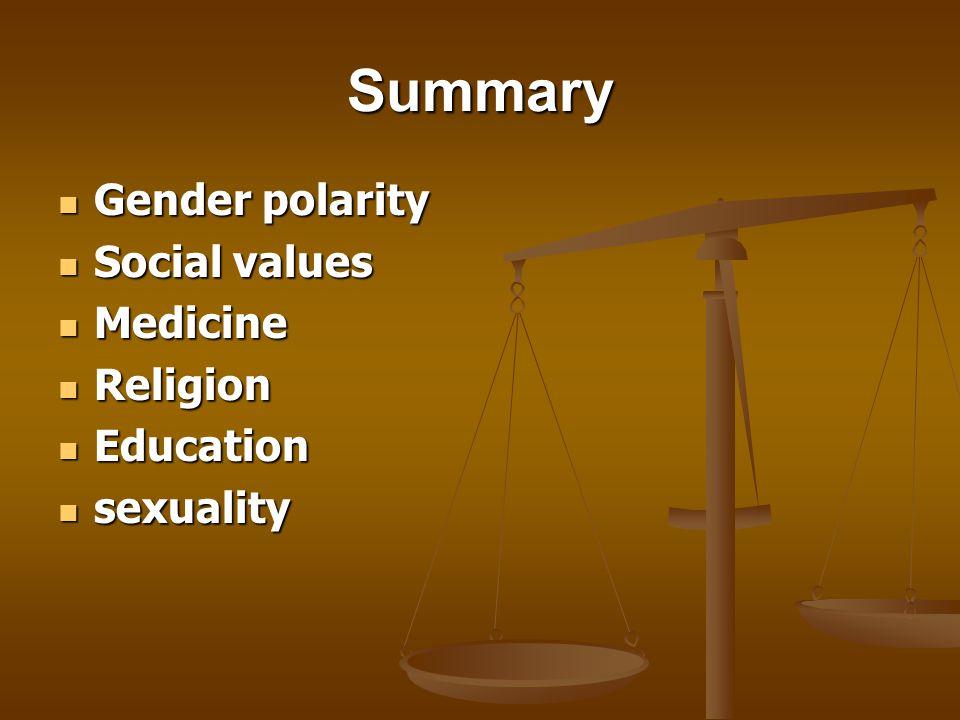 Summary Gender polarity Gender polarity Social values Social values Medicine Medicine Religion Religion Education Education sexuality sexuality