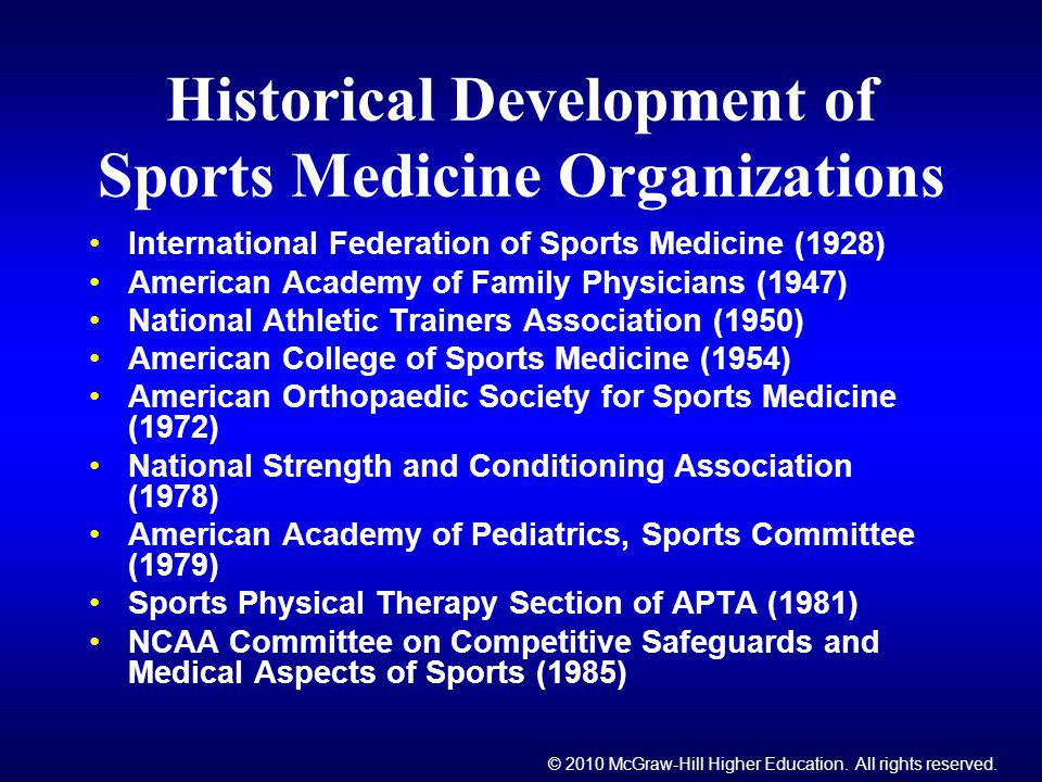 © 2010 McGraw-Hill Higher Education. All rights reserved. Historical Development of Sports Medicine Organizations International Federation of Sports M