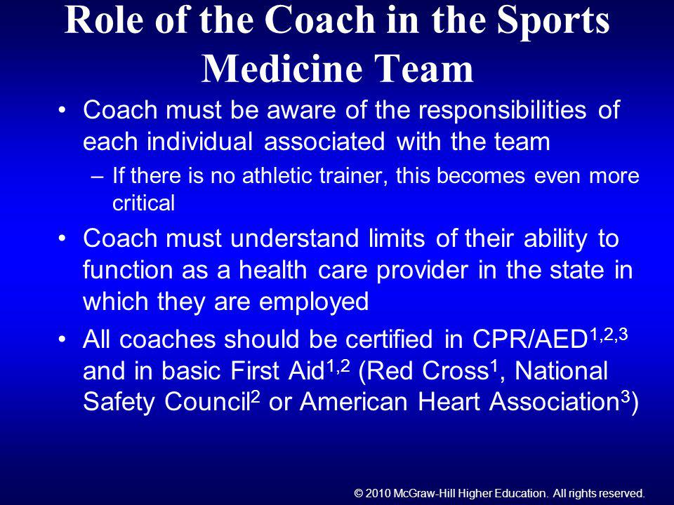 © 2010 McGraw-Hill Higher Education. All rights reserved. Role of the Coach in the Sports Medicine Team Coach must be aware of the responsibilities of