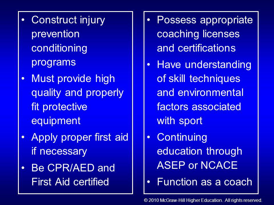 Construct injury prevention conditioning programs Must provide high quality and properly fit protective equipment Apply proper first aid if necessary