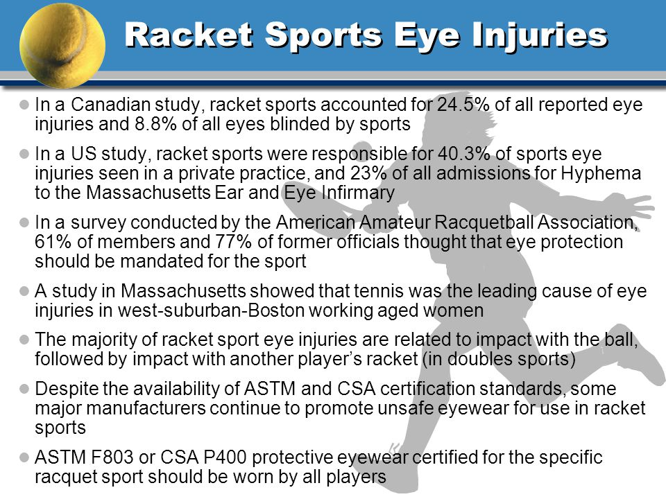 Racket Sports Eye Injuries l In a Canadian study, racket sports accounted for 24.5% of all reported eye injuries and 8.8% of all eyes blinded by sports l In a US study, racket sports were responsible for 40.3% of sports eye injuries seen in a private practice, and 23% of all admissions for Hyphema to the Massachusetts Ear and Eye Infirmary l In a survey conducted by the American Amateur Racquetball Association, 61% of members and 77% of former officials thought that eye protection should be mandated for the sport l A study in Massachusetts showed that tennis was the leading cause of eye injuries in west-suburban-Boston working aged women l The majority of racket sport eye injuries are related to impact with the ball, followed by impact with another players racket (in doubles sports) l Despite the availability of ASTM and CSA certification standards, some major manufacturers continue to promote unsafe eyewear for use in racket sports l ASTM F803 or CSA P400 protective eyewear certified for the specific racquet sport should be worn by all players
