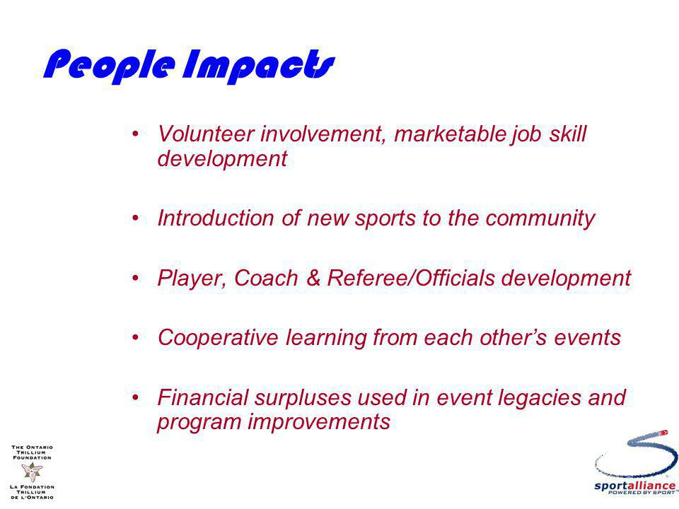 People Impacts Volunteer involvement, marketable job skill development Introduction of new sports to the community Player, Coach & Referee/Officials development Cooperative learning from each others events Financial surpluses used in event legacies and program improvements