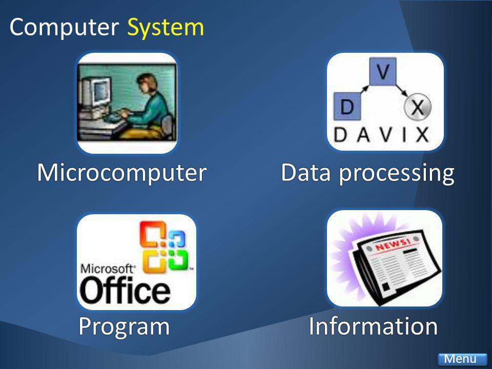 MicrocomputerData processingData processing ProgramInformation Computer System Menu