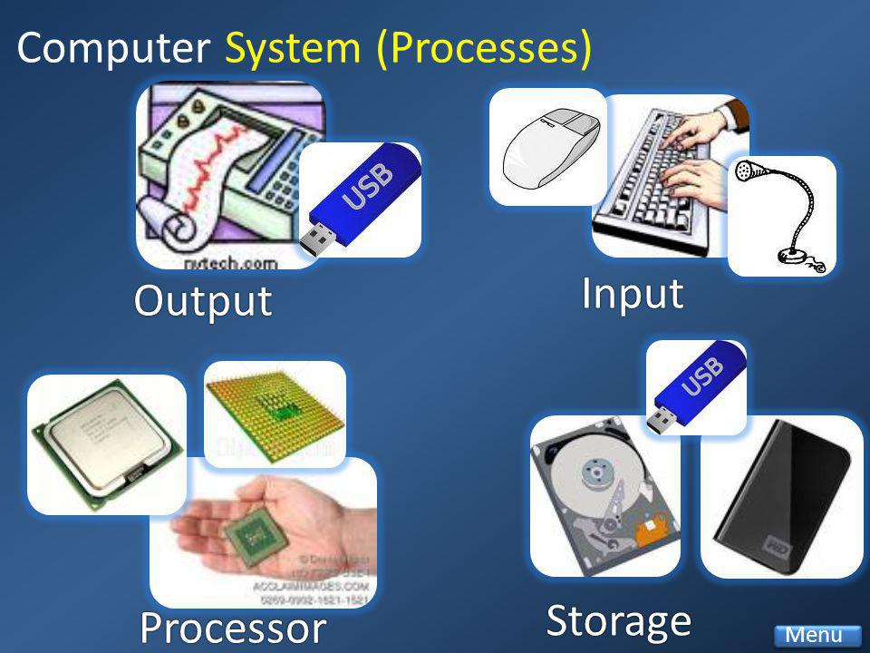 Output Input Processor Storage Computer System (Processes) Menu