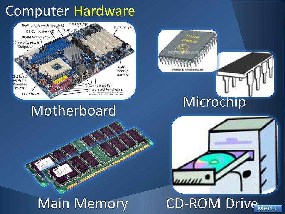 Motherboard Microchip CD-ROM DriveCD-ROM DriveMain MemoryMain Memory Computer Hardware Menu