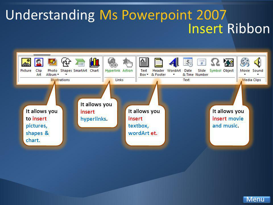 Understanding Ms Powerpoint 2007 It allows you to insert pictures, shapes & chart.