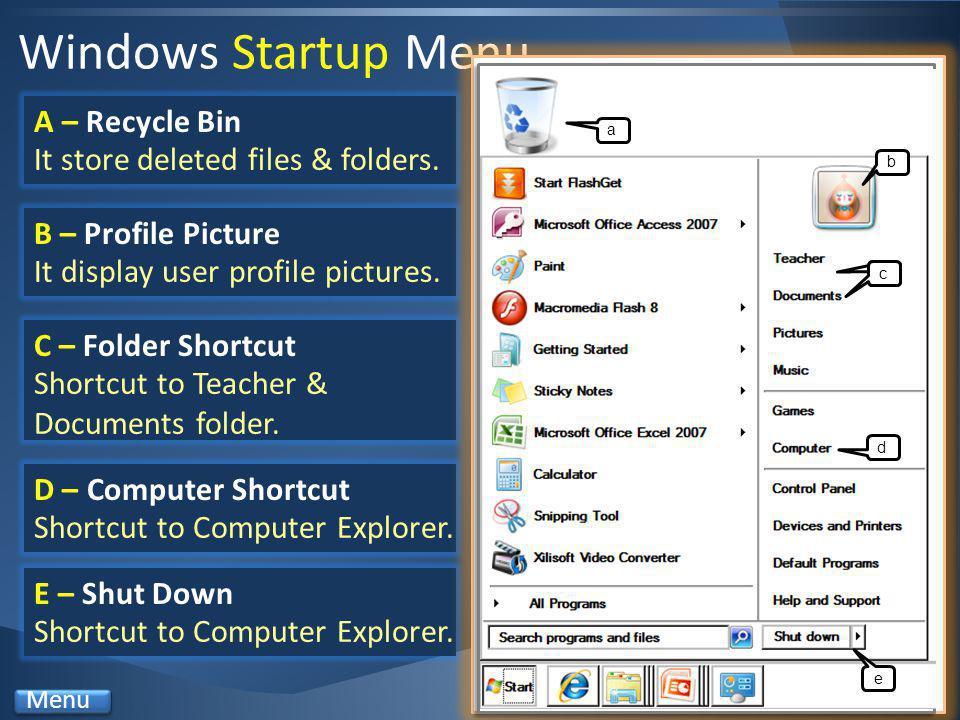 Windows Startup Menu A – Recycle Bin It store deleted files & folders.