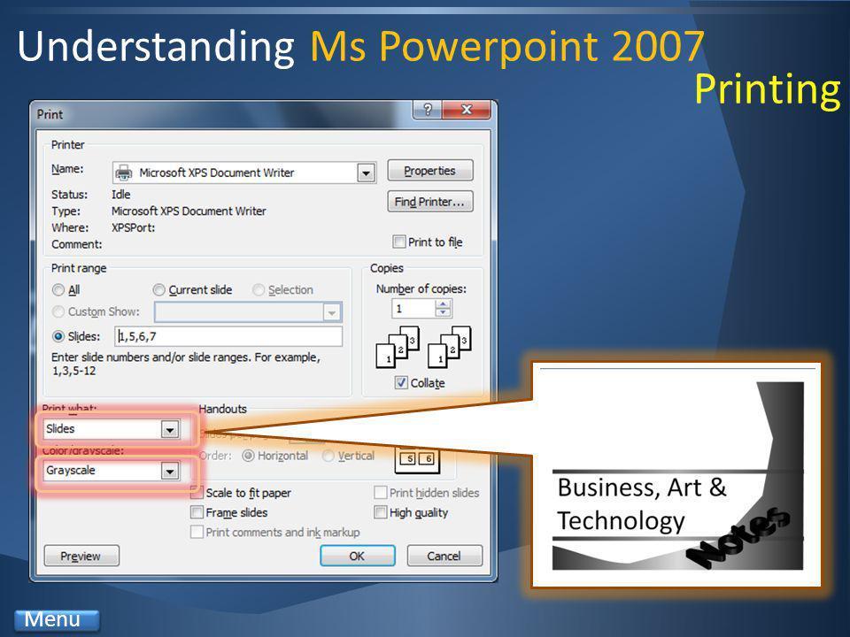 Understanding Ms Powerpoint 2007 Menu Printing