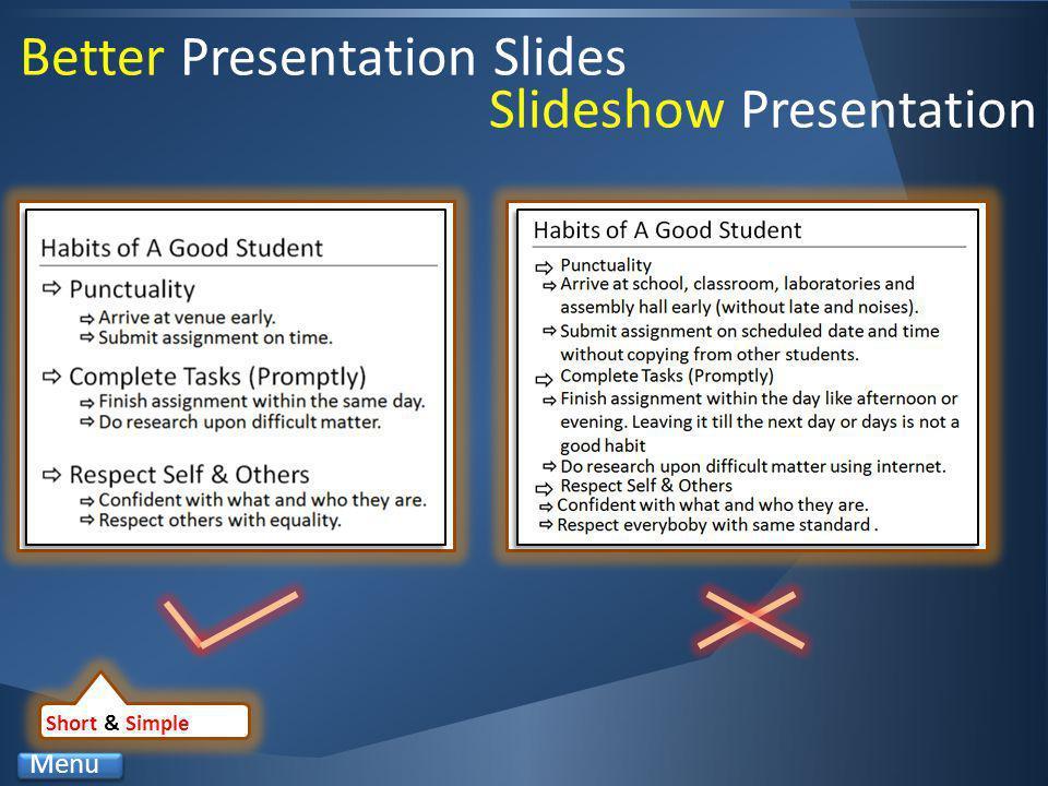 Better Presentation Slides Short & Simple Menu Slideshow Presentation