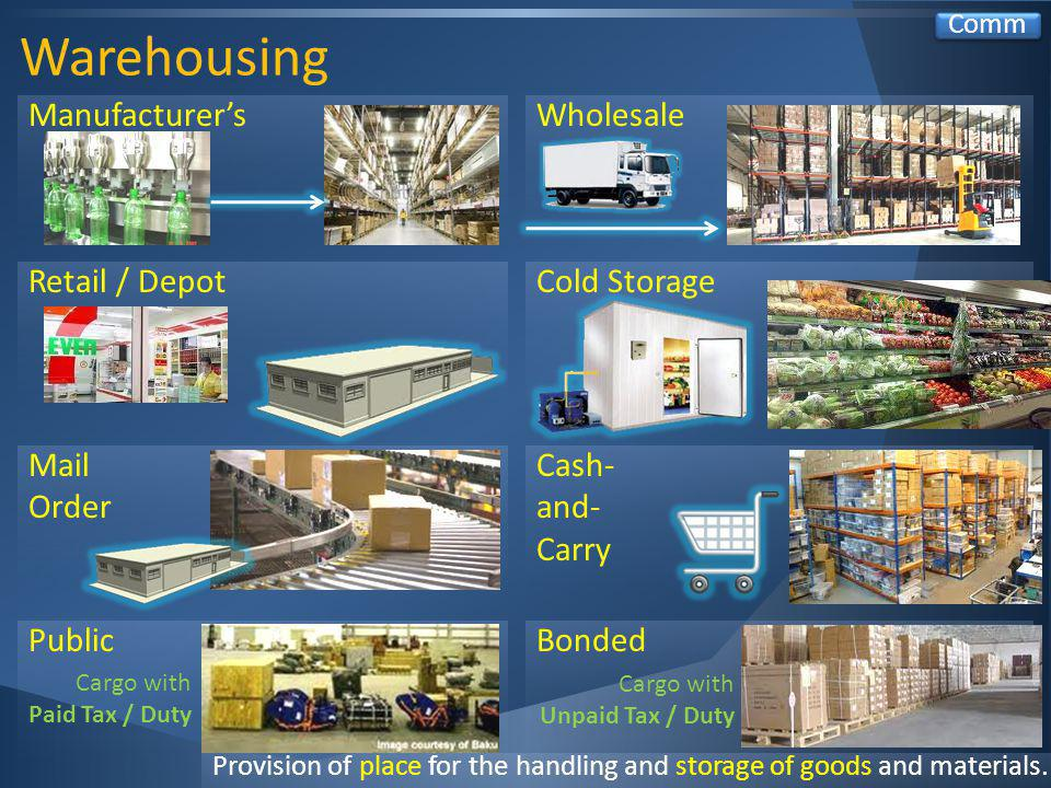 Warehousing Comm Provision of place for the handling and storage of goods and materials.