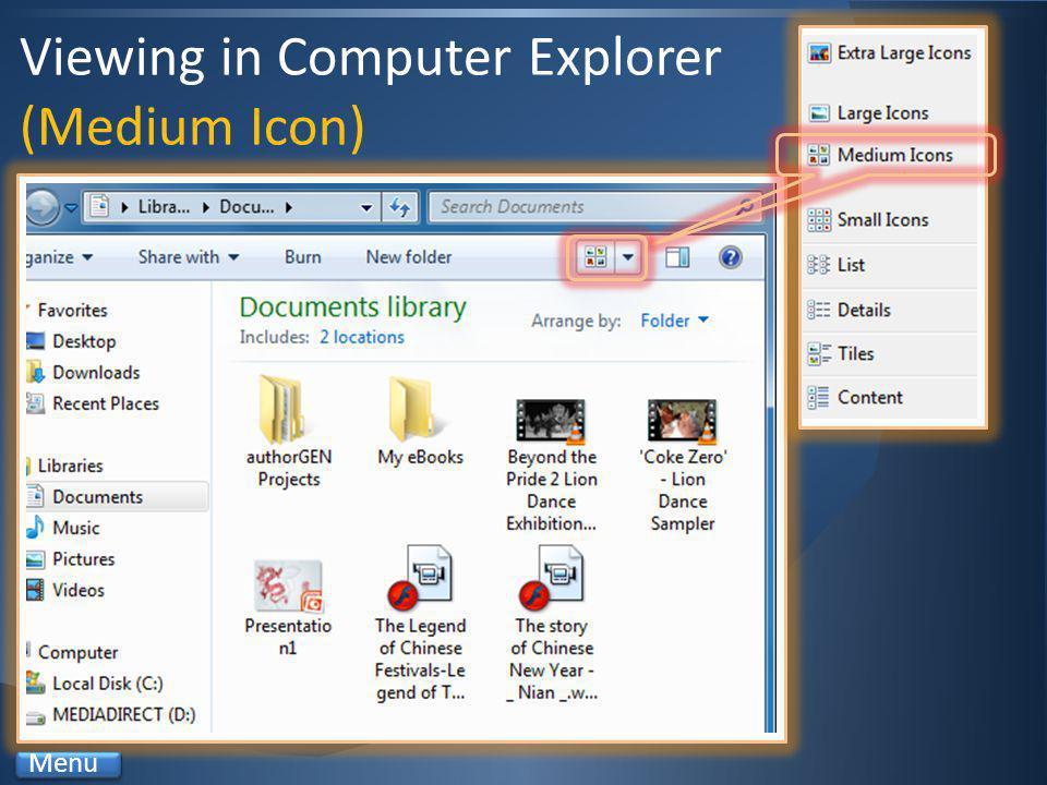 Viewing in Computer Explorer (Medium Icon) Menu