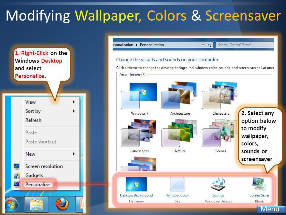 Modifying Wallpaper, Colors & Screensaver 1.