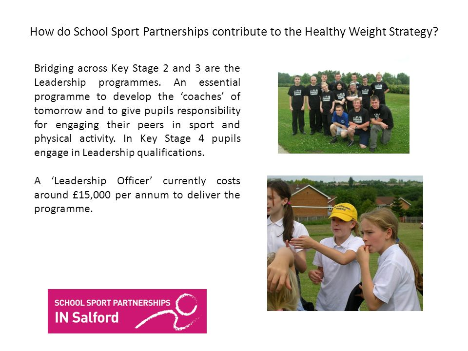 How do School Sport Partnerships contribute to the Healthy Weight Strategy.