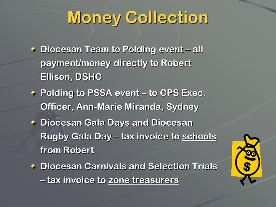 Diocesan Team to Polding event – all payment/money directly to Robert Ellison, DSHC Polding to PSSA event – to CPS Exec. Officer, Ann-Marie Miranda, S