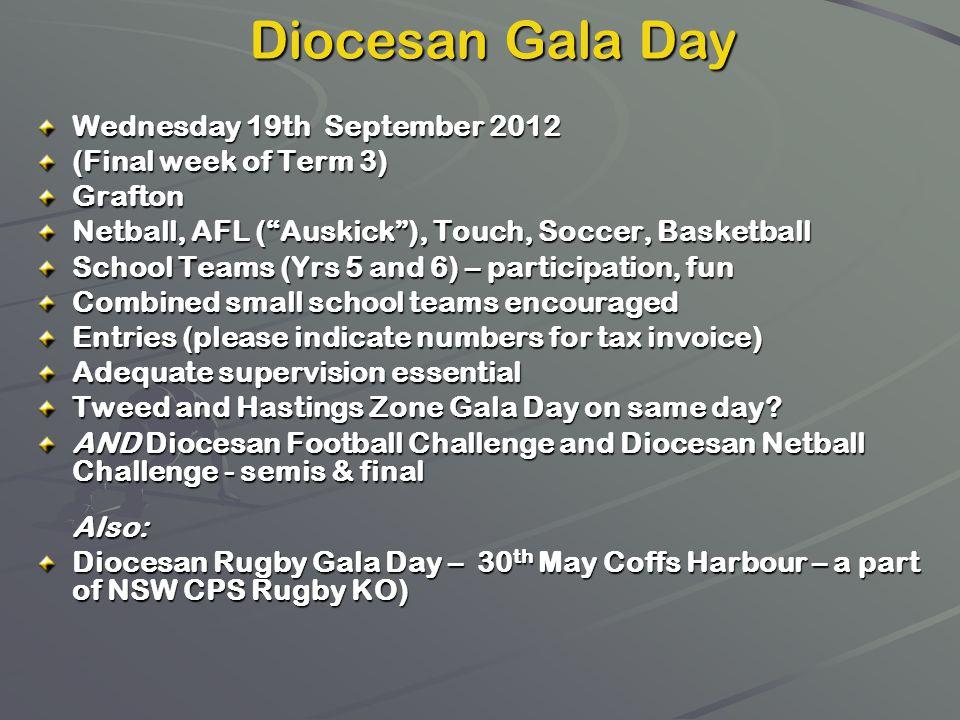 Wednesday 19th September 2012 (Final week of Term 3) Grafton Netball, AFL (Auskick), Touch, Soccer, Basketball School Teams (Yrs 5 and 6) – participat