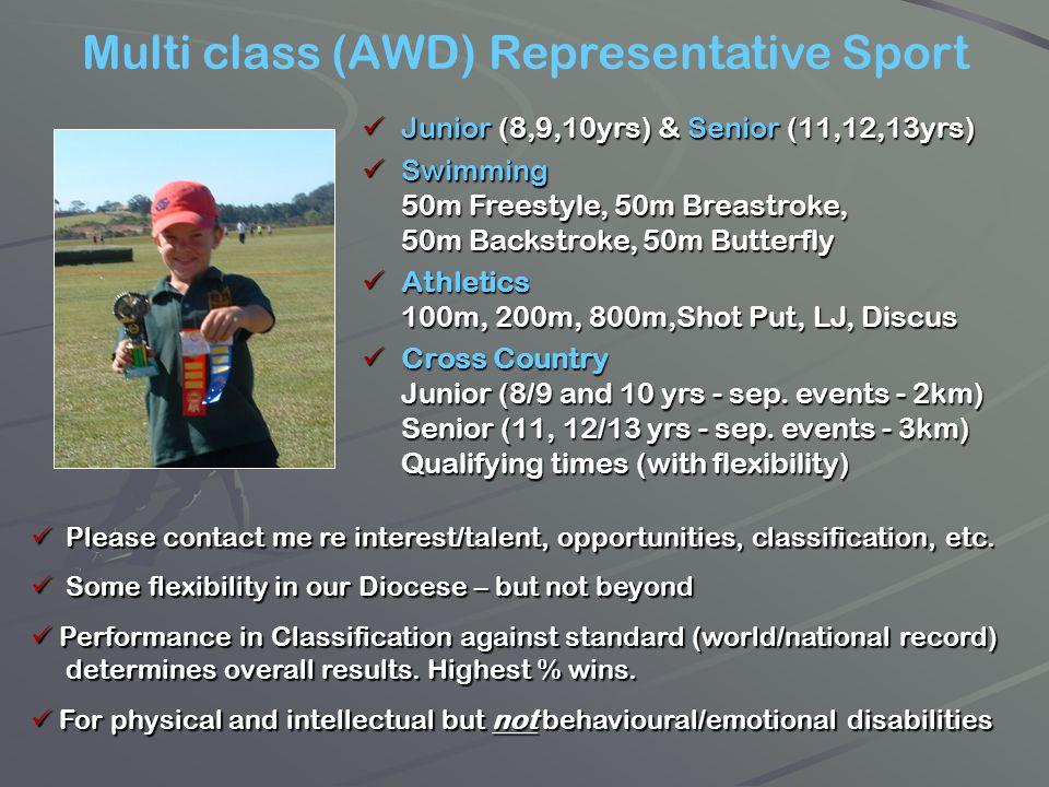 Multi class (AWD) Representative Sport Junior (8,9,10yrs) & Senior (11,12,13yrs) Swimming 50m Freestyle, 50m Breastroke, 50m Backstroke, 50m Butterfly