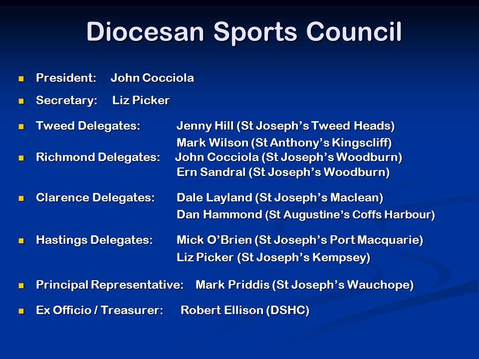 Diocesan Sports Council President: John Cocciola President: John Cocciola Secretary: Liz Picker Secretary: Liz Picker Tweed Delegates: Jenny Hill (St