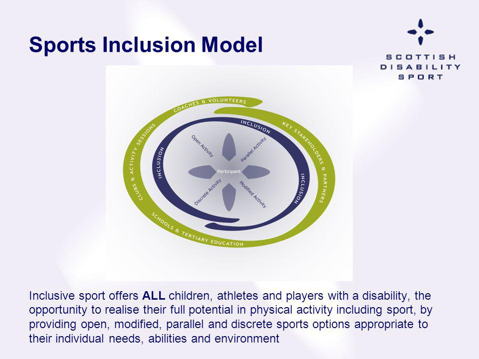 Sports Inclusion Model Inclusive sport offers ALL children, athletes and players with a disability, the opportunity to realise their full potential in