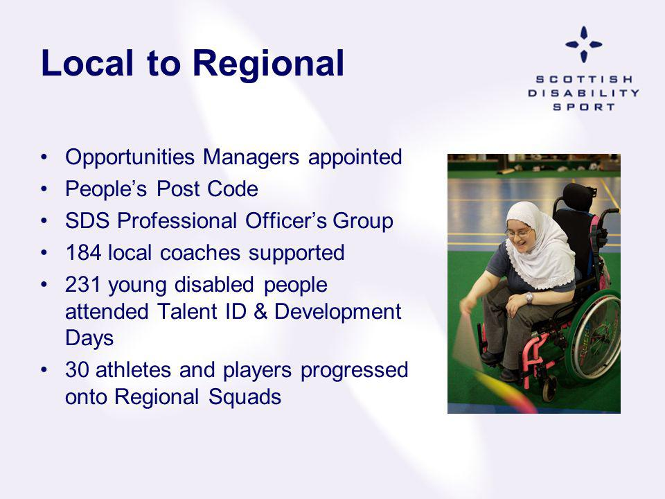 Local to Regional Opportunities Managers appointed Peoples Post Code SDS Professional Officers Group 184 local coaches supported 231 young disabled pe