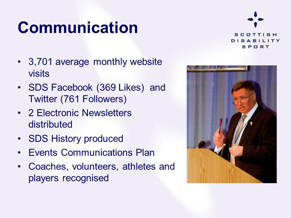 Communication 3,701 average monthly website visits SDS Facebook (369 Likes) and Twitter (761 Followers) 2 Electronic Newsletters distributed SDS Histo