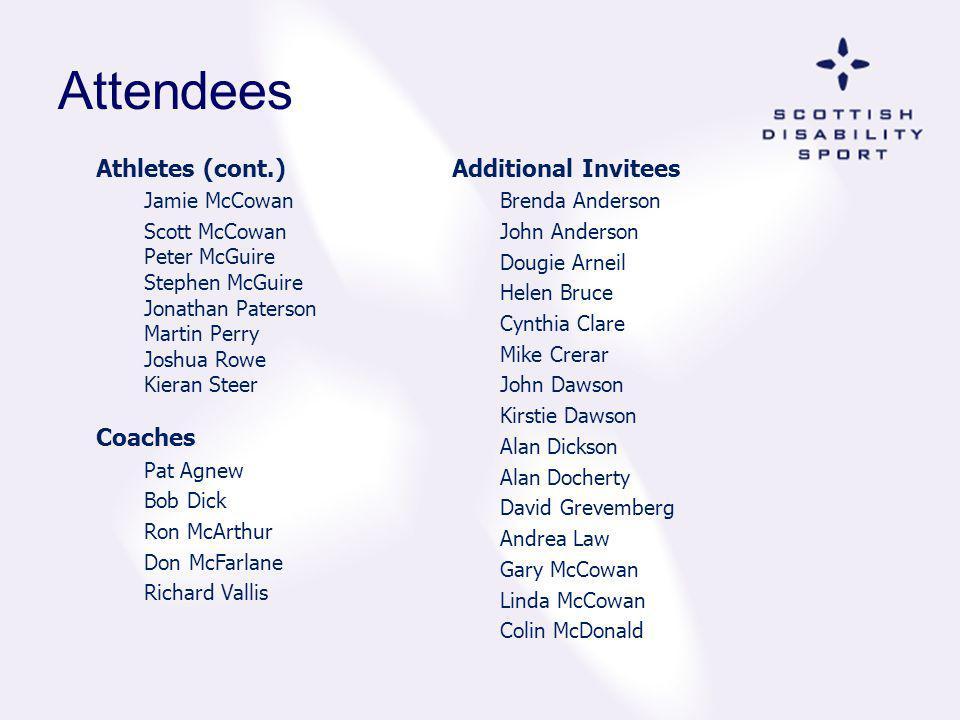 Attendees Athletes (cont.) Jamie McCowan Scott McCowan Peter McGuire Stephen McGuire Jonathan Paterson Martin Perry Joshua Rowe Kieran Steer Coaches P