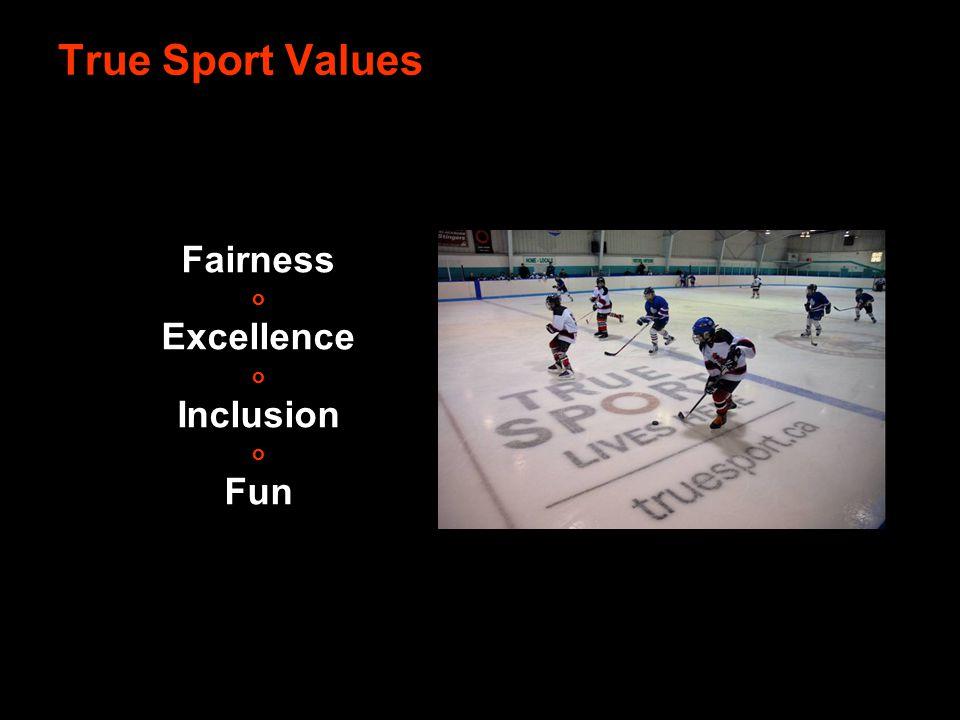 Fairness o Excellence o Inclusion o Fun True Sport Values