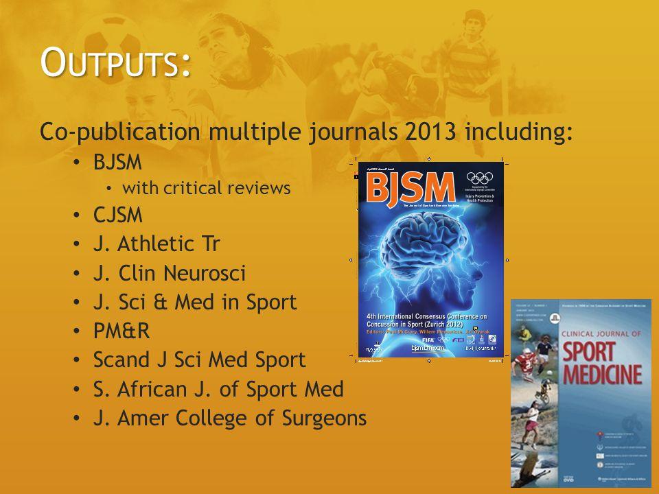 O UTPUTS : Co-publication multiple journals 2013 including: BJSM with critical reviews CJSM J.