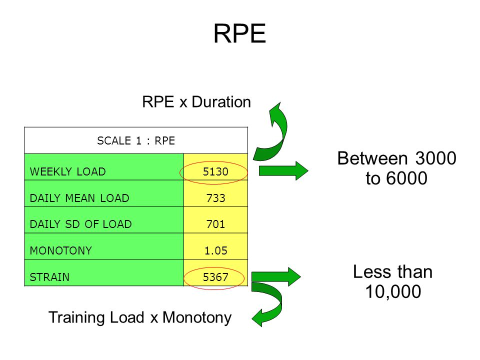 RPE Between 3000 to 6000 SCALE 1 : RPE WEEKLY LOAD5130 DAILY MEAN LOAD733 DAILY SD OF LOAD701 MONOTONY1.05 STRAIN5367 Less than 10,000 Training Load x