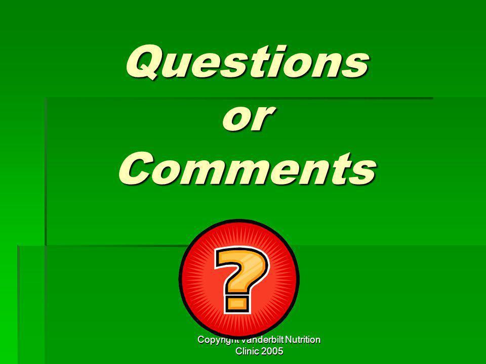 Copyright Vanderbilt Nutrition Clinic 2005 Questions or Comments