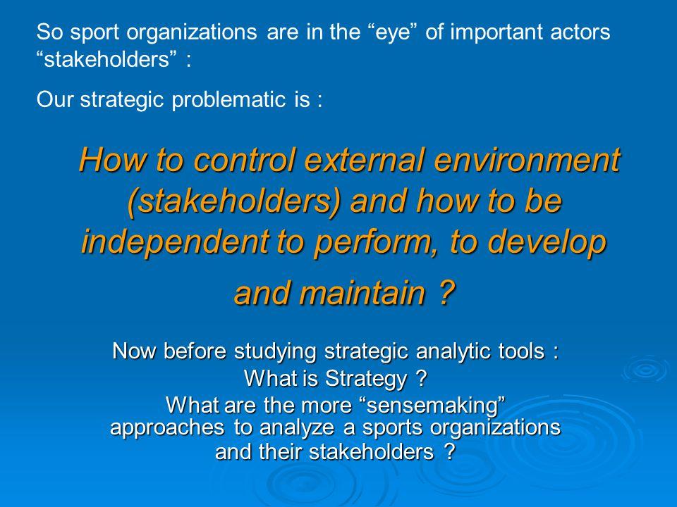 Main Strategic Approaches (Saias & Métais, 2001) POSITIONINGMOVEMENT Competitive Advantage Resource- Based View RBV Permanent Transformation STRATEGIC « FIT » STRATEGIC « INTENT » S.W.O.T 5 Forces Michael Porter & Co Gary Hamel and C.