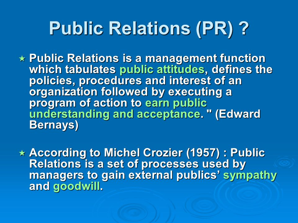 PR for events managers Press-relations : control & development Press-relations : control & development Events creation during your event Events creation during your event Political PR Political PR « People » exploitation (dedicated person in your organization) « People » exploitation (dedicated person in your organization) Construction and management of relational networks inside and outside your event Construction and management of relational networks inside and outside your event Forging an « iron cage » for your event network : be carefull about the balance between quantitative and qualitative interpersonal relationships Forging an « iron cage » for your event network : be carefull about the balance between quantitative and qualitative interpersonal relationships