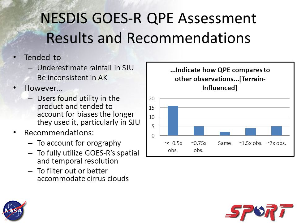NESDIS GOES-R QPE Assessment Results and Recommendations Tended to – Underestimate rainfall in SJU – Be inconsistent in AK However… – Users found utility in the product and tended to account for biases the longer they used it, particularly in SJU Recommendations: – To account for orography – To fully utilize GOES-Rs spatial and temporal resolution – To filter out or better accommodate cirrus clouds
