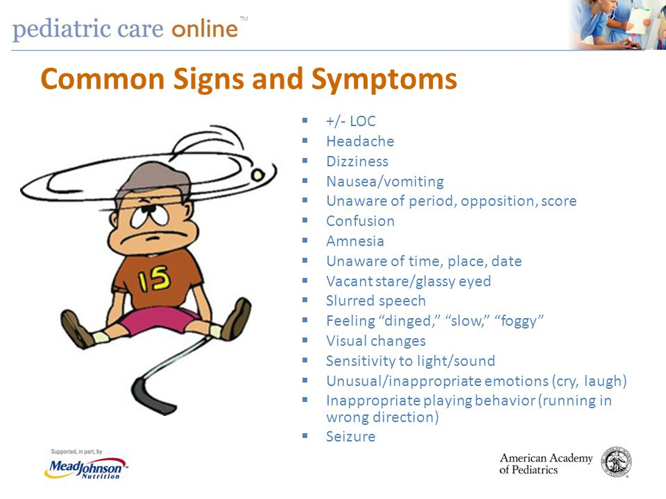 TM Common Signs and Symptoms +/- LOC Headache Dizziness Nausea/vomiting Unaware of period, opposition, score Confusion Amnesia Unaware of time, place,