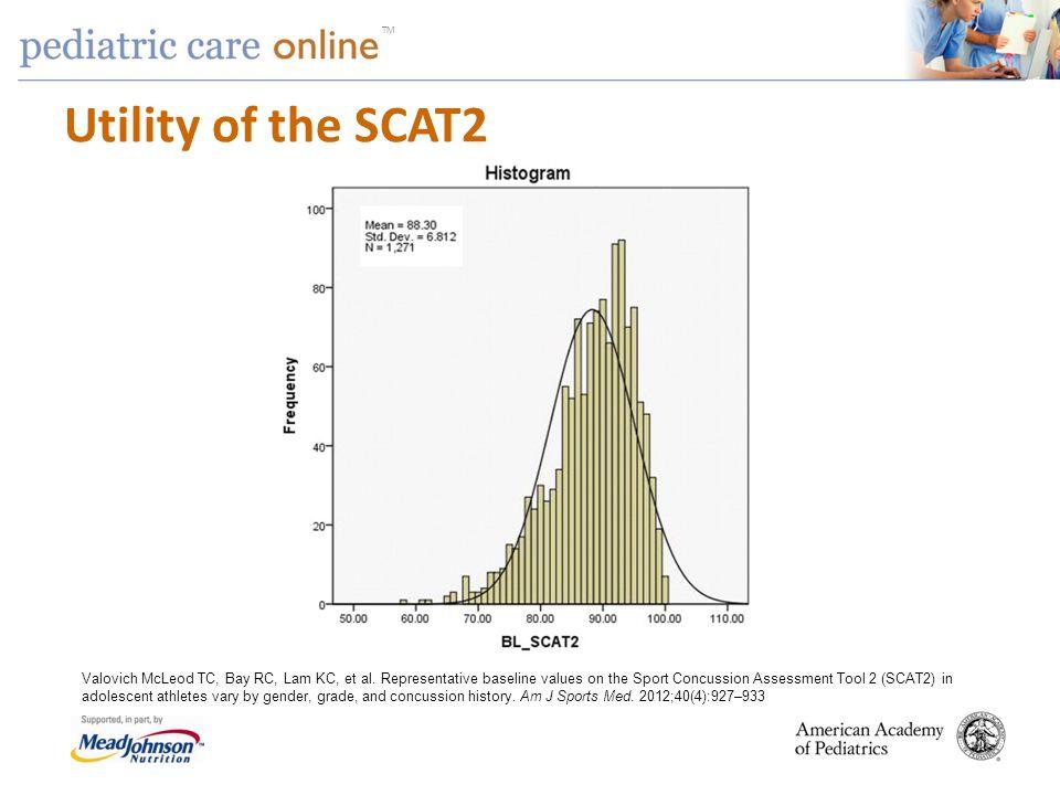 TM Utility of the SCAT2 Valovich McLeod TC, Bay RC, Lam KC, et al. Representative baseline values on the Sport Concussion Assessment Tool 2 (SCAT2) in