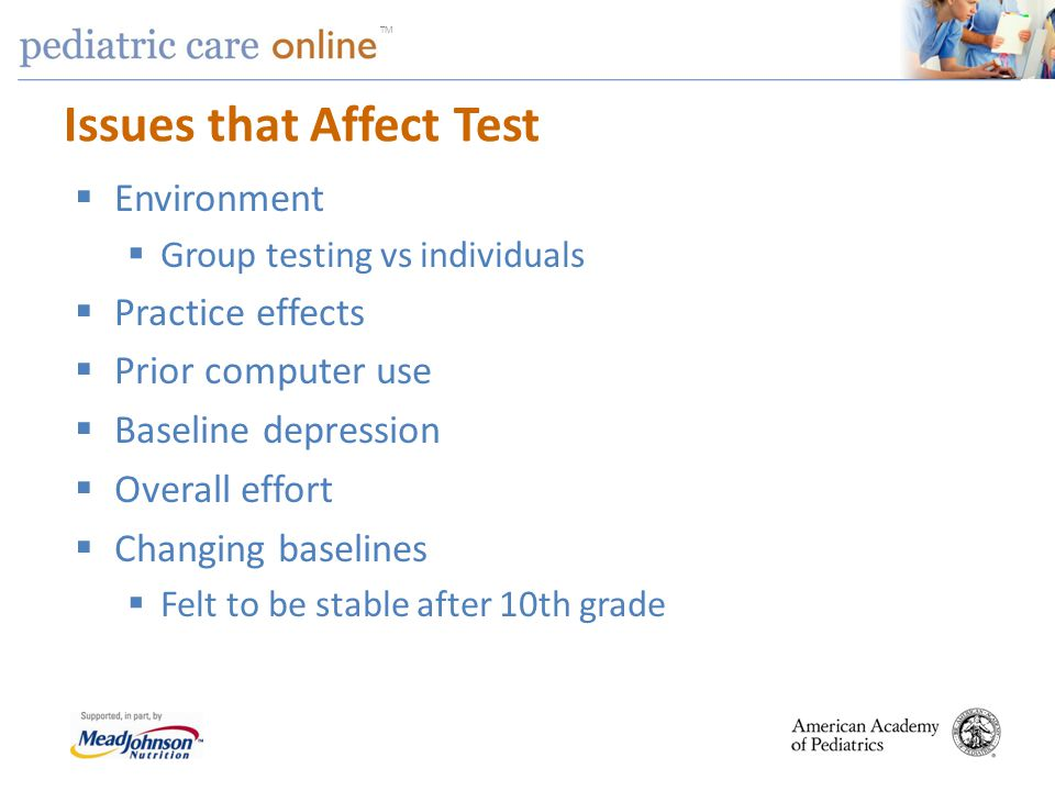 TM Issues that Affect Test Environment Group testing vs individuals Practice effects Prior computer use Baseline depression Overall effort Changing ba