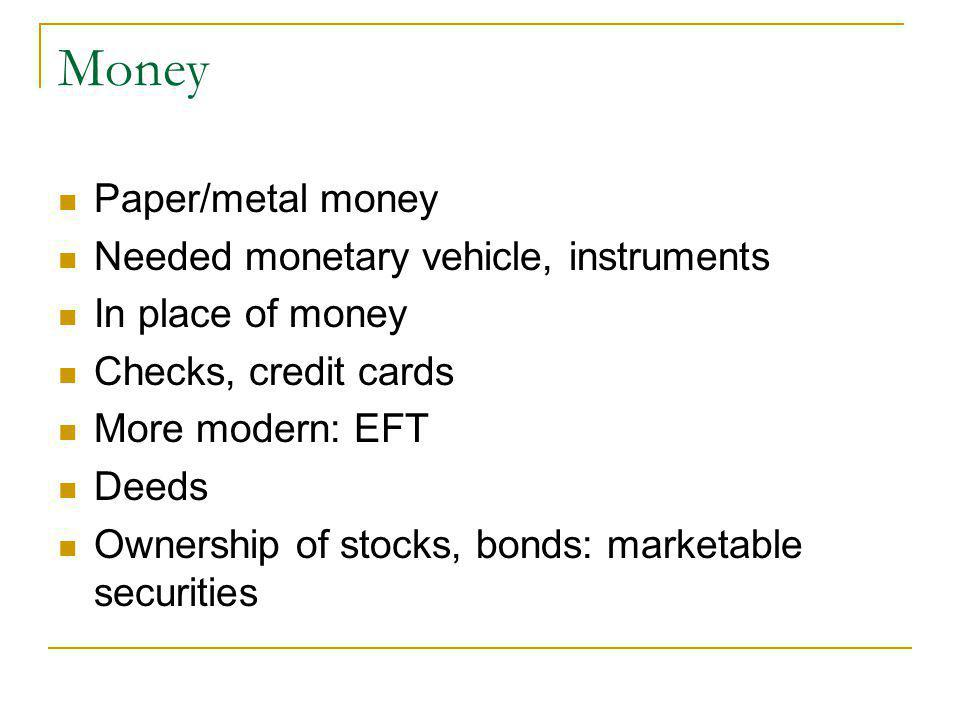 Money Paper/metal money Needed monetary vehicle, instruments In place of money Checks, credit cards More modern: EFT Deeds Ownership of stocks, bonds: