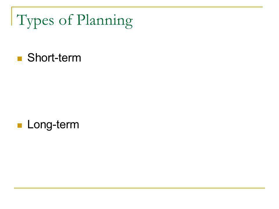 Types of Planning Short-term Long-term