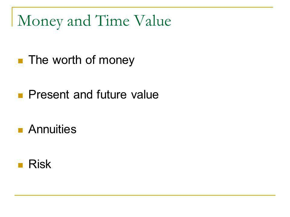 Money and Time Value The worth of money Present and future value Annuities Risk