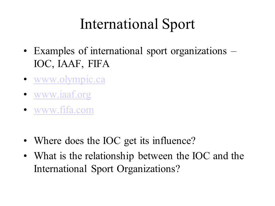 International Sport Organizations What do they do.