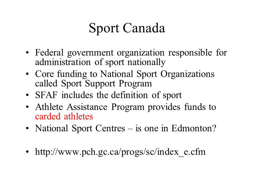 Learning Objectives You should focus on the following: –What are the various types and levels of organizations that comprise the Canadian sport system.