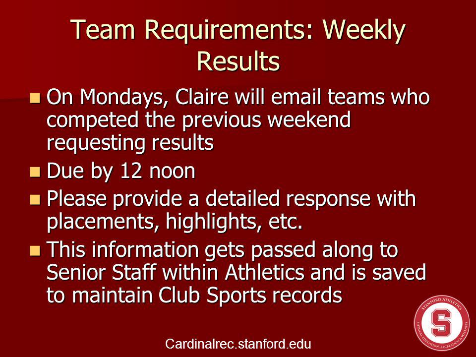 Team Requirements: Weekly Results On Mondays, Claire will email teams who competed the previous weekend requesting results On Mondays, Claire will email teams who competed the previous weekend requesting results Due by 12 noon Due by 12 noon Please provide a detailed response with placements, highlights, etc.