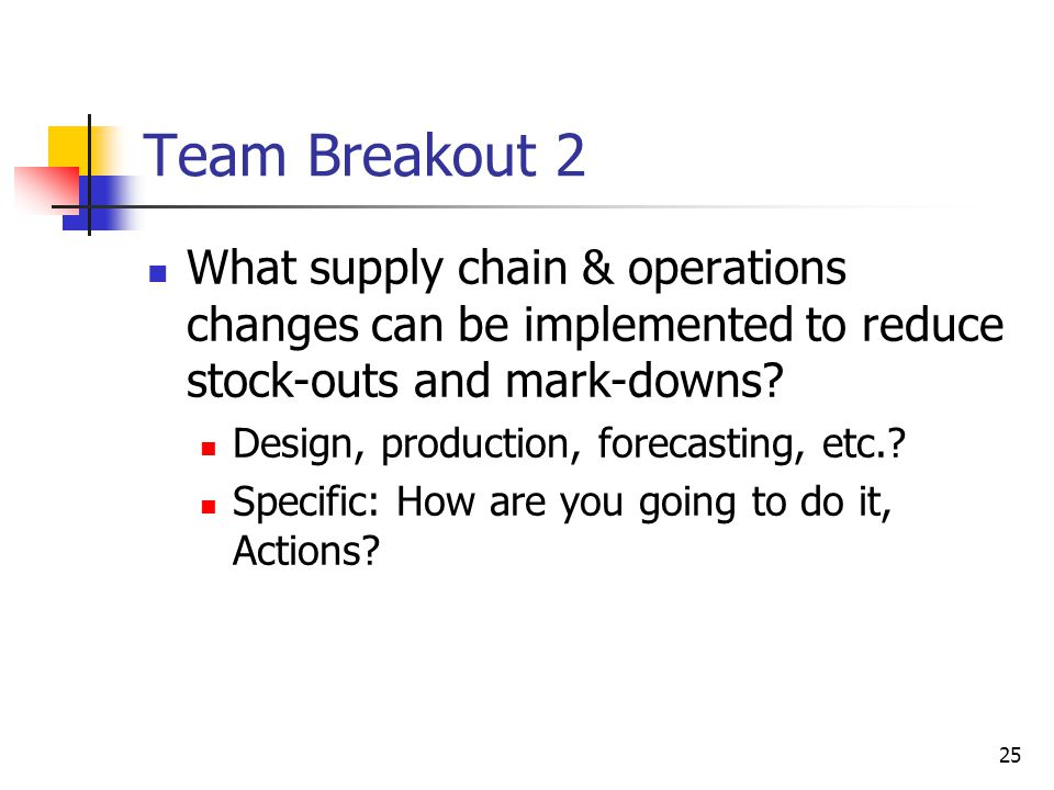 25 Team Breakout 2 What supply chain & operations changes can be implemented to reduce stock-outs and mark-downs? Design, production, forecasting, etc