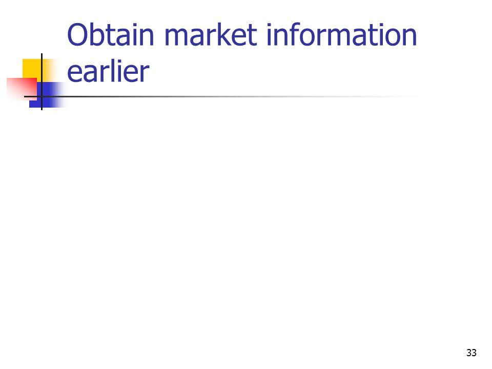 33 Obtain market information earlier