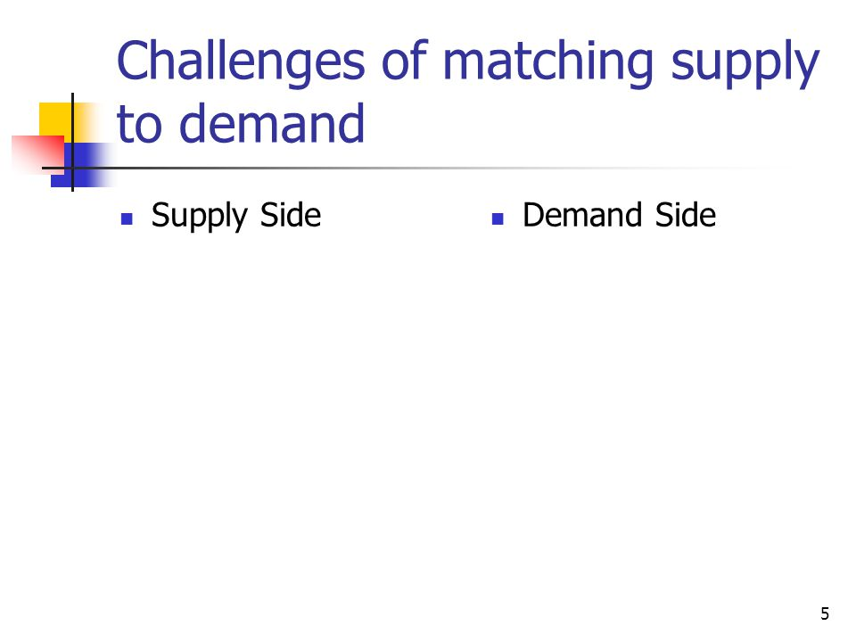 5 Challenges of matching supply to demand Supply Side Demand Side